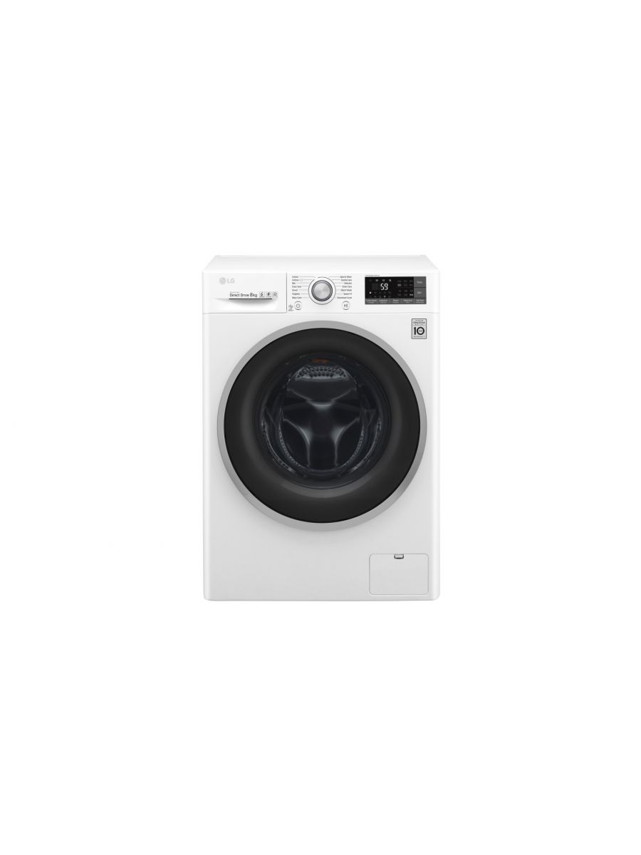 Front Load Washer 8kg, Direct Drive Motor with 6 Motions, White Color