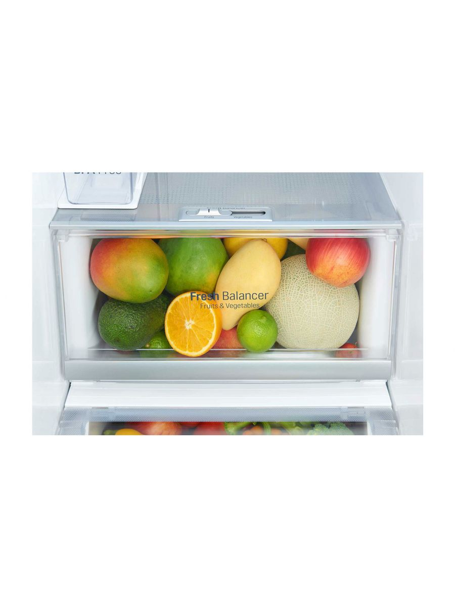 Side by Side Refrigerator 668L Gross Capacity, Door-in-Door, Inverter Linear Compressor, Platinum Silver Color